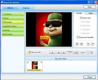 Opções para usar (vídeo, imagem, cor tirar foto e da webcam).